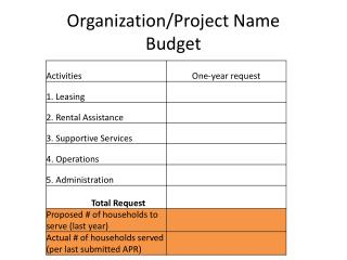 Organization/Project Name Budget