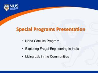 Special Programs Presentation