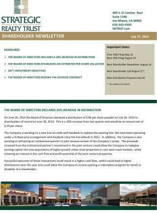 400 S. El Camino  Real Suite 1100 San Mateo, CA 94402 650-343-9300 SRTREIT.com