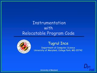 Instrumentation with Relocatable Program Code