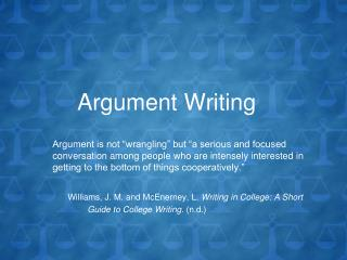 Argument Writing