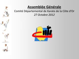 Assemblée Générale Comité Départemental de Karate de la Côte d'Or 27 Octobre 2012