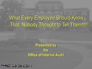 What Every Employee Should Know