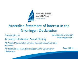 Australian Statement of Interest in the Groningen Declaration