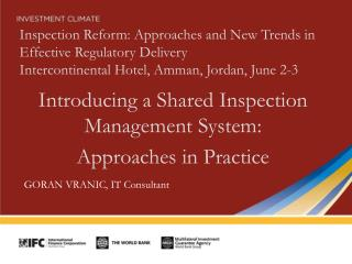 Introducing  a Shared Inspection Management  System:  Approaches in Practice