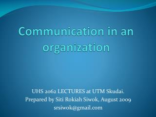 Communication in an organization