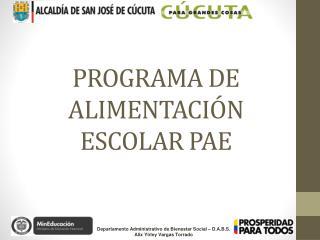 PROGRAMA DE ALIMENTACIÓN ESCOLAR PAE