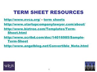 TERM SHEET  RESOURCES