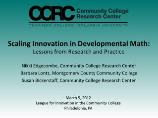 Scaling Innovation in Developmental Math: Lessons from Research and Practice