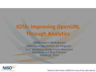 IOTA: Improving  OpenURL  Through Analytics