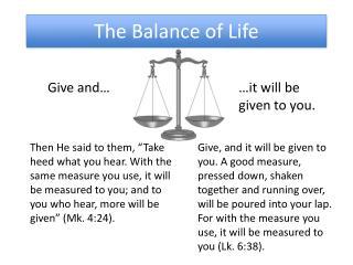 The Balance of Life