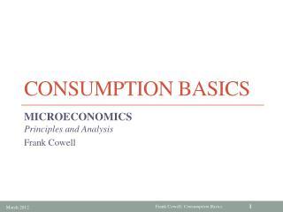 Consumption Basics