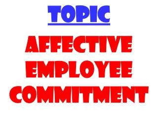 TOPIC AFFECTIVE EMPLOYEE COMMITMENT