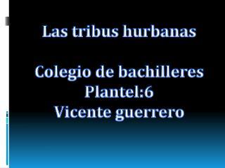 Las tribus hurbanas Colegio de bachilleres Plantel:6 Vicente guerrero