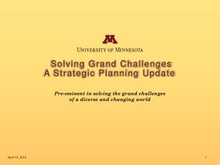 Solving Grand Challenges A Strategic Planning Update