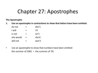Chapter 27: Apostrophes