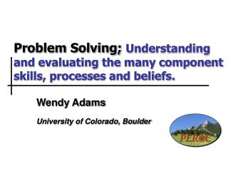 Problem Solving; Understanding and evaluating the many component skills, processes and beliefs.