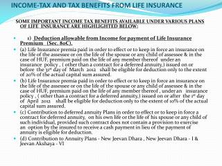 INCOME-TAX AND TAX BENEFITS FROM LIFE INSURANCE