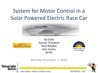 System for Motor Control in a Solar Powered Electric Race Car