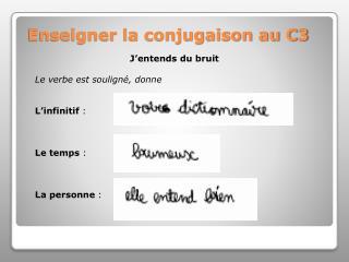 Enseigner la conjugaison au C3