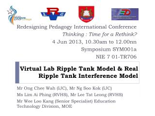 Virtual Lab Ripple Tank Model & Real Ripple Tank Interference Model