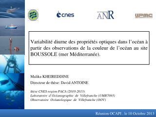 thèse  CNES-region PACA (2010-2013) Laboratoire  d'Océanographie de Villefranche (UMR7093)