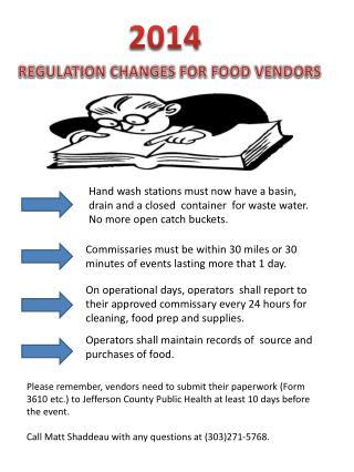 REGULATION CHANGES FOR FOOD VENDORS