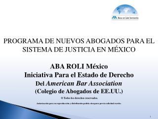 PROGRAMA DE NUEVOS ABOGADOS PARA EL SISTEMA DE JUSTICIA EN  MÉXICO ABA ROLI México