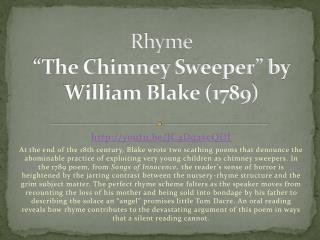 "Rhyme ""The Chimney Sweeper"" by William Blake (1789)"