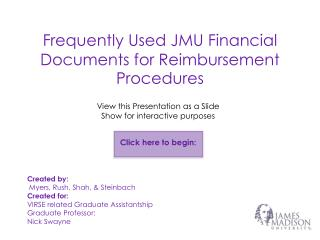 Frequently Used JMU Financial Documents for Reimbursement Procedures