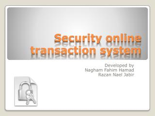 Security online transaction system
