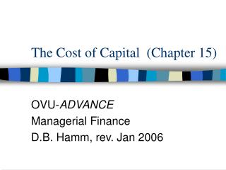 The Cost of Capital  Chapter 15