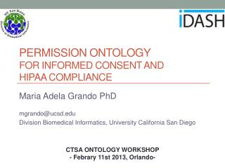 PERMISSION ONTOLOGY  FOR INFORMED CONSENT AND  HIPAA COMPLIANCE