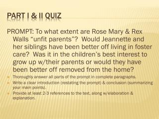 Part I & II Quiz