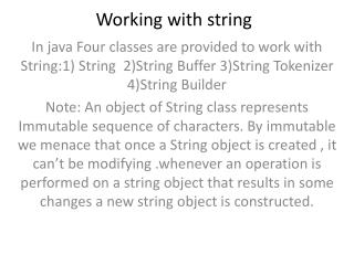 Working with string