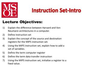 Instruction Set-Intro