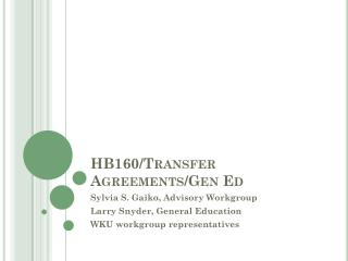 HB160/Transfer Agreements/Gen Ed