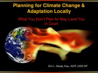 Planning for Climate Change & Adaptation Locally