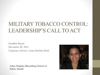 MILITARY TOBACCO CONTROL:  LEADERSHIP'S  CALL TO ACT