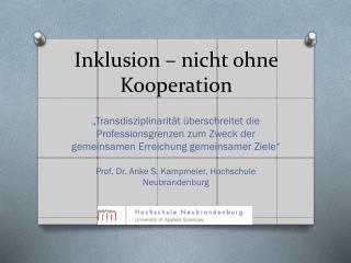 Inklusion � nicht ohne Kooperation