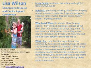 Lisa Wilson Community Resource and Family Support Coordinator