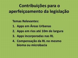 Contribuições para o aperfeiçoamento da legislação