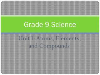 Unit 1: Atoms, Elements, and Compounds
