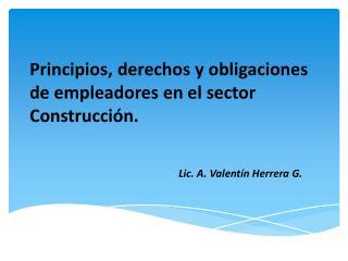 Principios, derechos y obligaciones de empleadores en el sector Construcción.