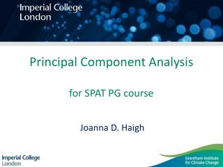 Principal Component Analysis for SPAT PG course