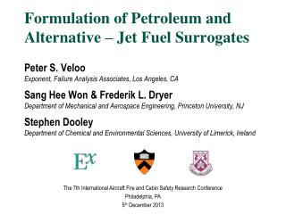 Formulation of Petroleum and  Alternative – Jet Fuel Surrogates