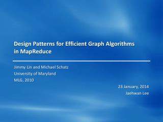 Design Patterns for Efficient Graph Algorithms in  MapReduce