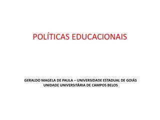 Geraldo magela de paula – universidade estadual de goiás Unidade universitária de campos belos