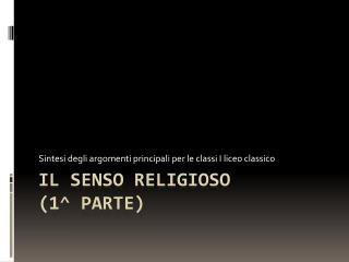 Il senso religioso (1^ PARTE)
