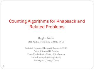 Counting Algorithms for Knapsack and Related Problems